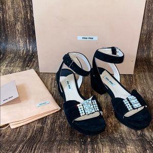 Miu Miu suede rhinestone heels 36